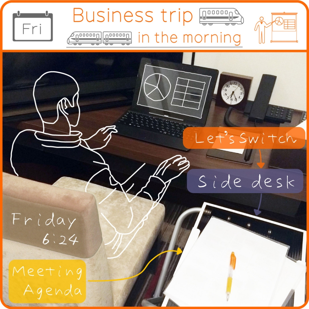 Friday Business trip in the morning Let's Switch Side desk Meeting Agenda Friday 6:24